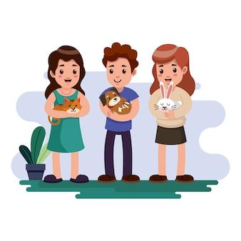 Ludzie bawić się z ich zwierzę domowe ilustraci paczką