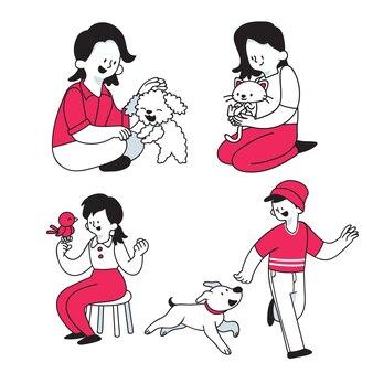 Ludzie bawić się z ich zwierzętami domowymi ilustracyjnymi