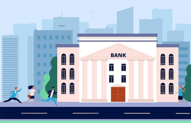 Ludzie biegają do banku. kryzys finansowy, tłum potrzebuje pieniędzy. system bankowy, ilustracja wektorowa budynku administracyjnego miasta. kryzys i bankructwo, problem biznesowy