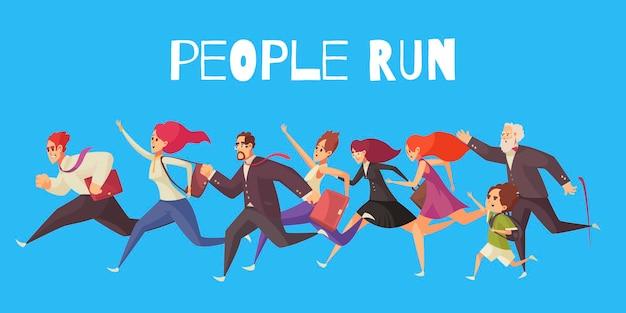 Ludzie biegają ilustracją na niebieskiej ścianie