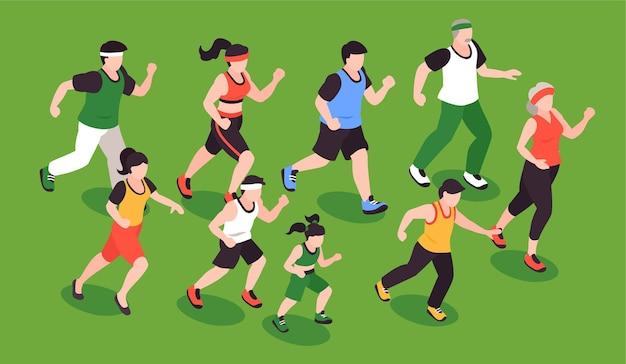 Ludzie biegają koncepcją z symbolami joggingu fitness izometryczną ilustracją