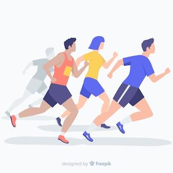 Ludzie biegający w maratonie