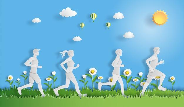 Ludzie biegający z pojęciem sportu i aktywności.