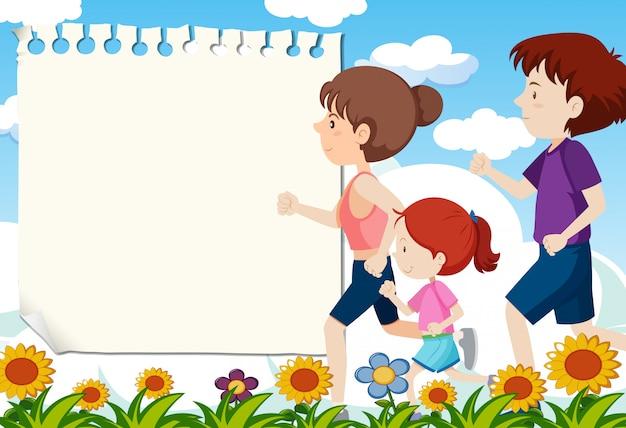 Ludzie biegający z szablonem notatki