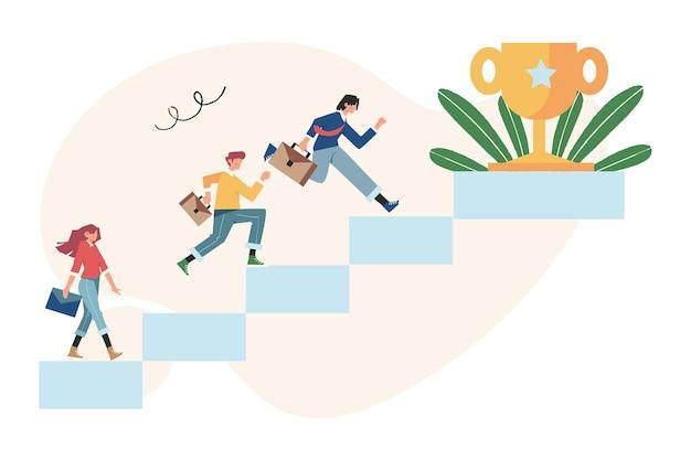 Ludzie biegną do celu po kolumnach, podnoszą motywację, osiągają cel
