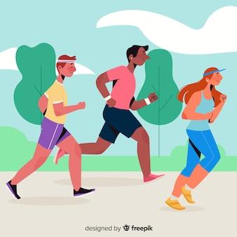 Ludzie biorący udział w wyścigu maratońskim