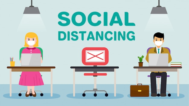 Ludzie biurowi biznesmenów utrzymują dystans społeczny. nowa normalna praca w pracy. znak covid-19