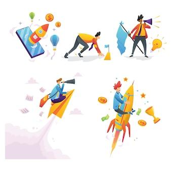 Ludzie biznes ilustracja zestaw z koncepcją charakteru uruchamiania