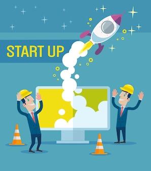 Ludzie biznesmeni budują rakietę nowy projekt startowy biznesowa koncepcja pracy zespołowej płaska kreskówka projekt graficzny ilustracja
