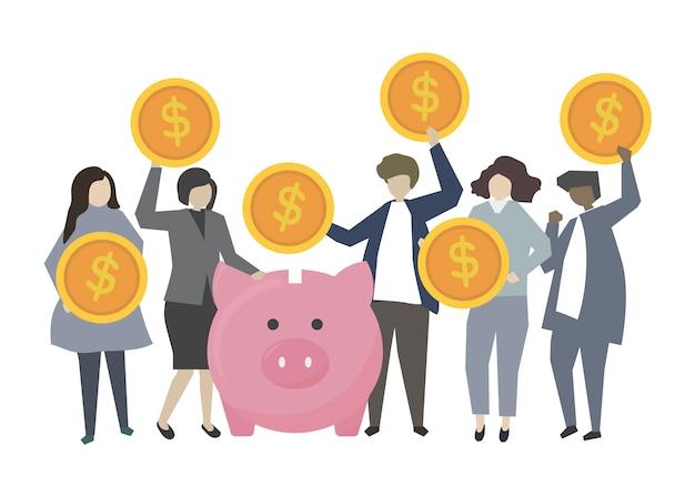 Ludzie biznesu bankowości i oszczędzania pojęcia