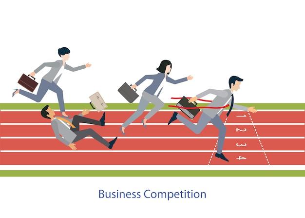 Ludzie biznesu biega na czerwonym guma śladzie, wektorowa ilustracja.