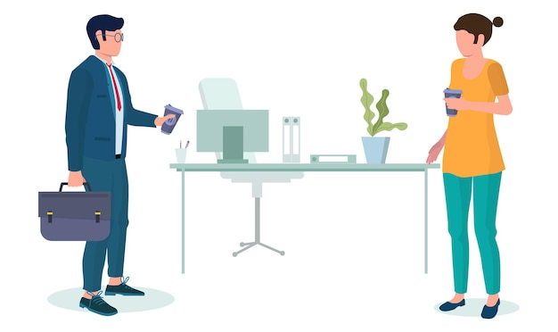 Ludzie biznesu biorąc przerwę na kawę, płaskie wektor ilustracja. męskie i żeńskie postacie kolegów, przyjaciół pijących kawę na wynos w biurze. czas na herbatę.