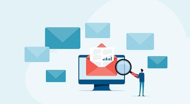 Ludzie biznesu czytają i badają pocztę elektroniczną