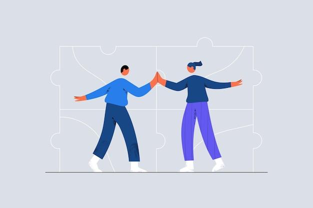 Ludzie biznesu dający pięć koncepcji pracy zespołowej