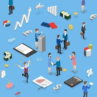 Ludzie biznesu dokonujący operacji finansowych. spotkanie biznesowe i umowa uścisk dłoni. ilustracja wektorowa izometryczny