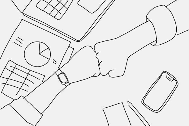 Ludzie biznesu doodle wektor robi uderzenie pięścią