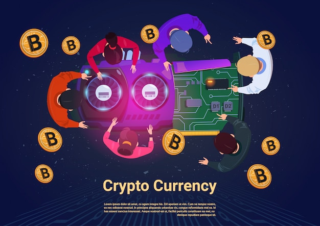 Ludzie biznesu górnictwo bitcoins top angle view crypto currency concept