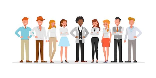 Ludzie biznesu grupują prezentacje postaci w różnych akcjach.