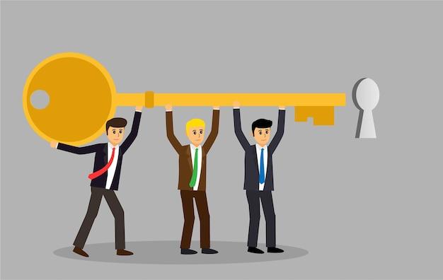 Ludzie biznesu grupy chwyta klucza isometric wektorowej ilustraci