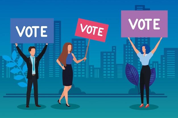 Ludzie biznesu i afisz protestacyjny z napisem głosowania