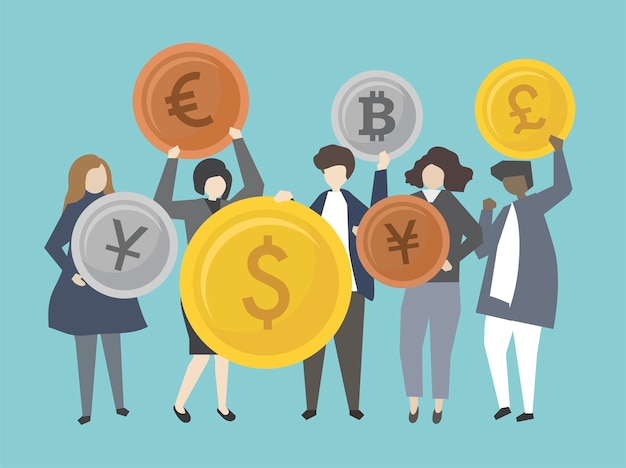 Ludzie biznesu i bankowowie z pieniądze ilustracją