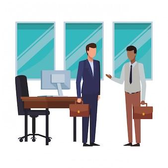 Ludzie biznesu i elementy biurowe