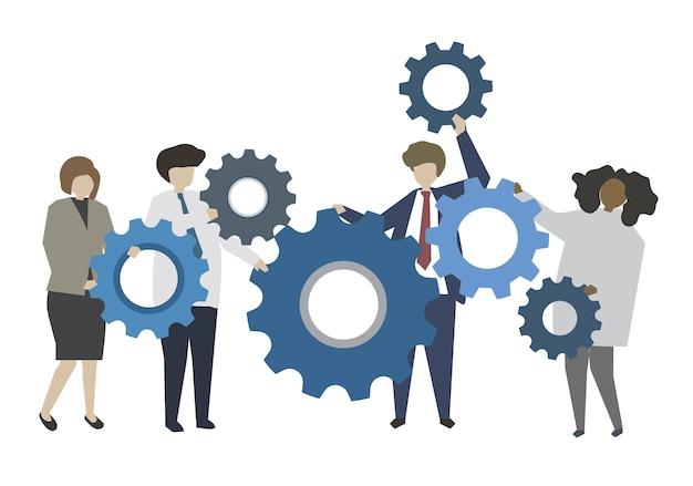 Ludzie biznesu i pracy zespołowej pojęcia ilustracja