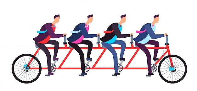 Ludzie biznesu jedzie na tandemowym rowerze.