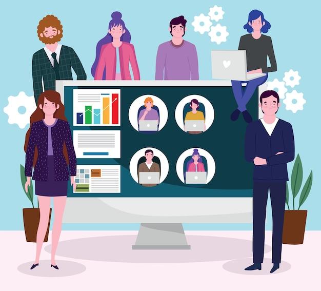 Ludzie biznesu komunikują się z kolegami za pośrednictwem wideo, ludzie pracują nad ilustracjami