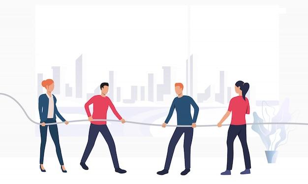 Ludzie biznesu konkurujących w sztandar przeciąganie liny