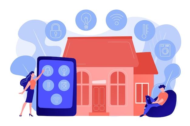 Ludzie biznesu kontrolujący urządzenia inteligentnego domu za pomocą tabletu i laptopa. inteligentne urządzenia domowe, system automatyki domowej, koncepcja rynku domotyki. różowawy koralowy bluevector ilustracja na białym tle