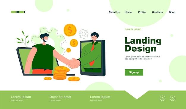 Ludzie biznesu korzystający z komputerów do zamykania strony docelowej transakcji online w płaskim stylu