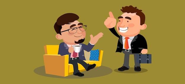 Ludzie biznesu lub koledzy siedzą razem i piją kawę lub herbatę, miło rozmawiając
