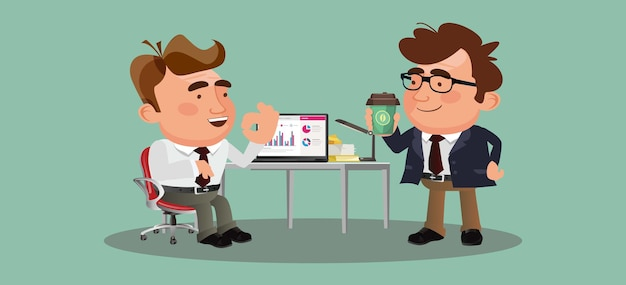 Ludzie biznesu lub koledzy siedzą razem i piją kawę lub herbatę, rozmawiając