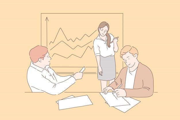 Ludzie biznesu na spotkaniu. uśmiechnięci biznesmeni i biznesowa kobieta pracuje wpólnie w biurze przy miejscem pracy. dziewczyna i chłopaki na spotkaniu analizującym wzrost finansów lub zyski.