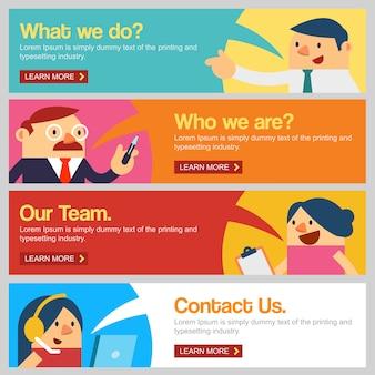 Ludzie biznesu na stronie internetowej banner lub stronie docelowej.
