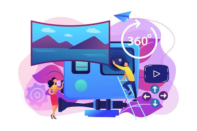 Ludzie biznesu na wycieczce w wirtualnej rzeczywistości 360 oglądając piękny krajobraz i kamerę. wycieczka wirtualna, wycieczki w rzeczywistości 3d, koncepcja spaceru w rzeczywistości wirtualnej.