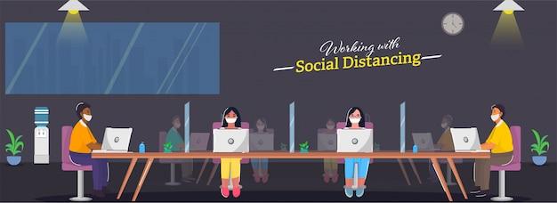 Ludzie biznesu noszą maskę na twarz, pracując razem w miejscu pracy, zachowując dystans społeczny, aby uniknąć koronawirusa.