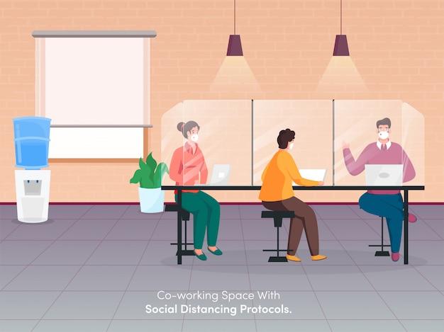 Ludzie biznesu noszą maski ochronne, pracując razem w miejscu pracy, zachowując dystans społeczny, aby uniknąć koronawirusa.