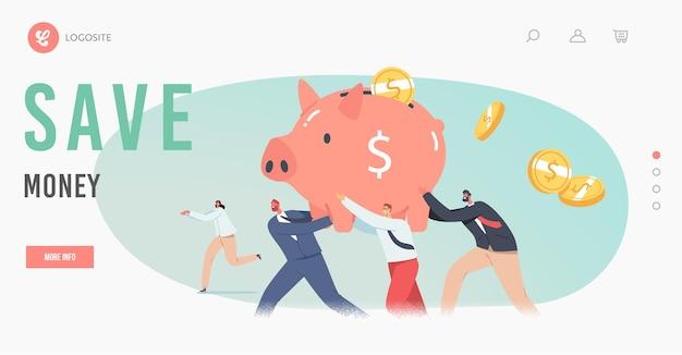 Ludzie biznesu oszczędzają pieniądze, strata na covid pandemic concept szablon strony docelowej. małe postacie inwestorów biznesowych z ogromną skarbonką próbującą uciec przed kryzysem finansowym, ilustracja kreskówka wektor