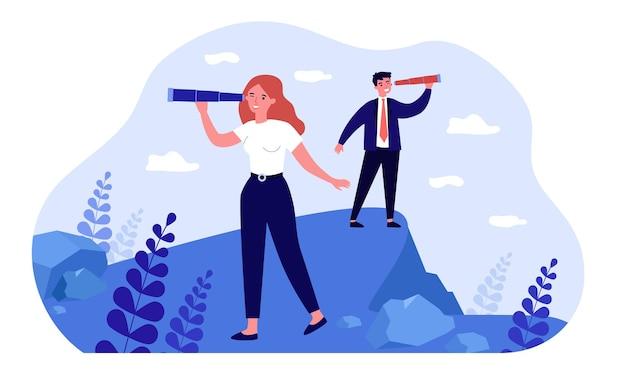 Ludzie biznesu patrząc w przyszłość przez teleskop. postacie mężczyzny i kobiety stojącej z lunetą. udana wizja przyszłości, koncepcja przywództwa dla banera, projektu strony internetowej lub strony docelowej