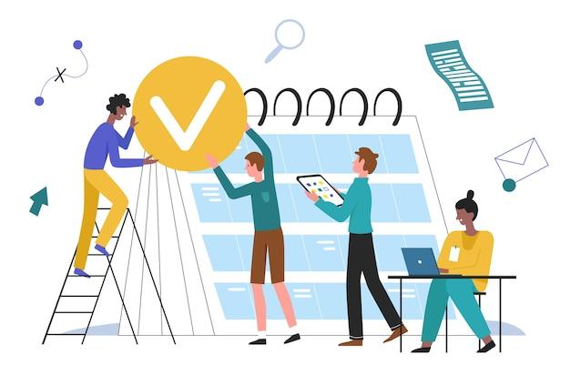 Ludzie Biznesu Planowania Ilustracji. Zespół Postaci Z Kreskówek Pracujący Razem Nad Biznesplanem, Planowanie Zadań Tygodnia Lub Miesiąca W Koncepcji Kalendarza Office Planner Na Białym Tle Premium Wektorów