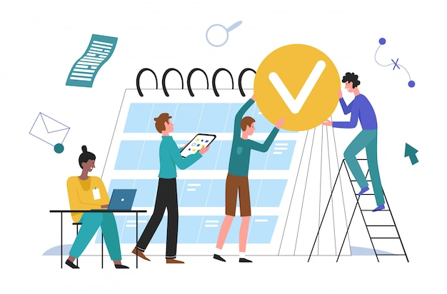 Ludzie Biznesu Planowania Ilustracji. Zespół Postaci Z Kreskówek Pracujący Razem Nad Biznesplanem, Planowanie Zadań Tygodnia Lub Miesiąca W Koncepcji Kalendarza Planowania Biura Na Białym Tle Premium Wektorów