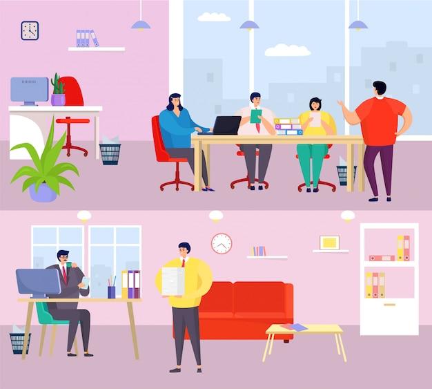 Ludzie biznesu, planowanie, kreskówka mężczyzna kobieta zespół znaków spotkania w wnętrz biurowych, planowanie pracy procesu
