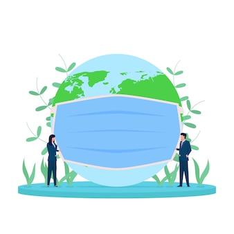 Ludzie biznesu płaskich koncepcji umieszczają na kuli ziemskiej metaforą maskowania, by uratować świat przed wirusem korony.