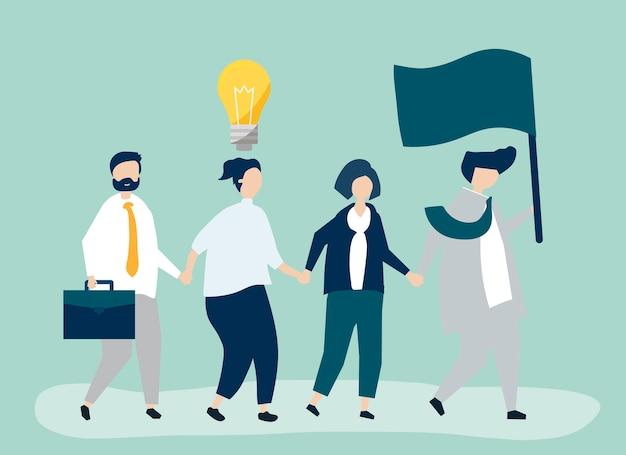 Ludzie biznesu podążający za liderem, aby znaleźć nowy rynek