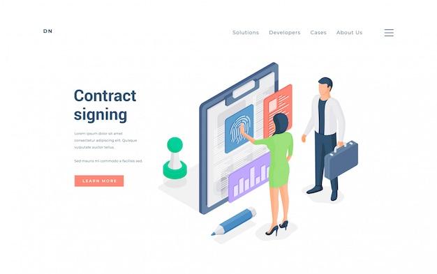 Ludzie biznesu podpisują umowę online. ilustracja