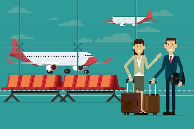 Ludzie biznesu podróżują z walizkami w lotniskowym terminalu i samolocie, wektorowa ilustracja