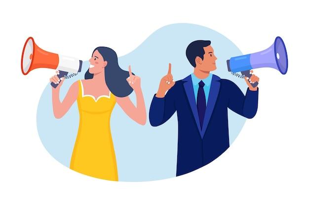 Ludzie biznesu posiadający megafon i krzycząc przez niego. ogłoszenie dobrych wieści. proszę o uwagę. głośnik z głośnikiem, bullhorn. reklama i promocja. marketing mediów społecznościowych