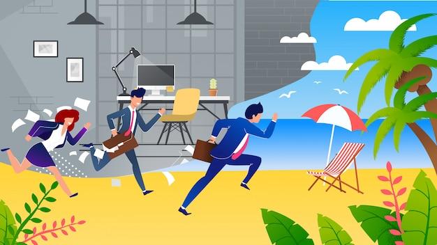 Ludzie biznesu pośpiech na wakacjach metafora kreskówka